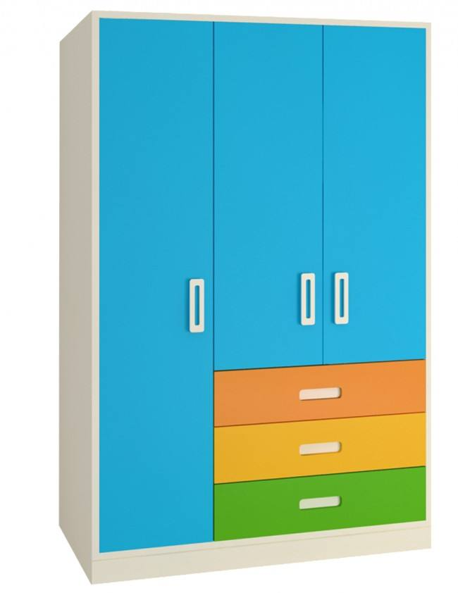 3 Door Multicolor Wardrobe W/3 Drawers Azure Blue MDF wood for bedroom livingroom