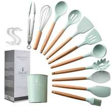 11pcs Silicone Cooking Kitchen Utensils Set, Wooden Handles Cooking Tool BPA Free Non Toxic Silicone Turner Tongs Spatula