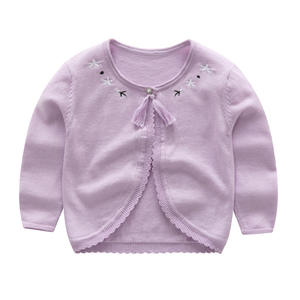 JY535 baby child girls knitted cardigan pure cotton sweater shawl one button