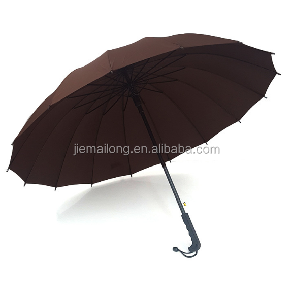 16 ribs factory wholesale auto open straight umbrella with solid color pongee umbrella with logo printed