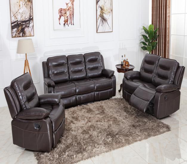 Cozy brown 3+2+1 pu leather recliner sofa set