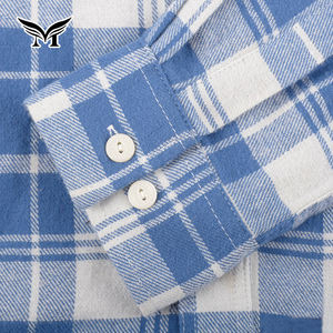 Good quality eco friendly soft classic casual blue flannel shirts for men 100% cotton long sleeve