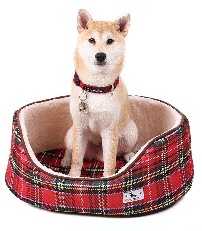 Super Soft Warm Winter Fashion Plaid (eiffel tower) 패턴 Non-slip Bottom 개 둥지 와 이동식 쿠션 Pet 자 침대
