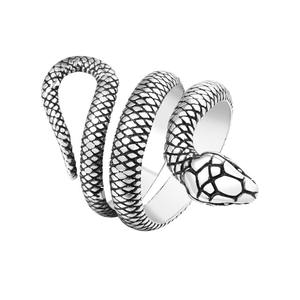 Vintage punk rock style stainless steel snake design ring