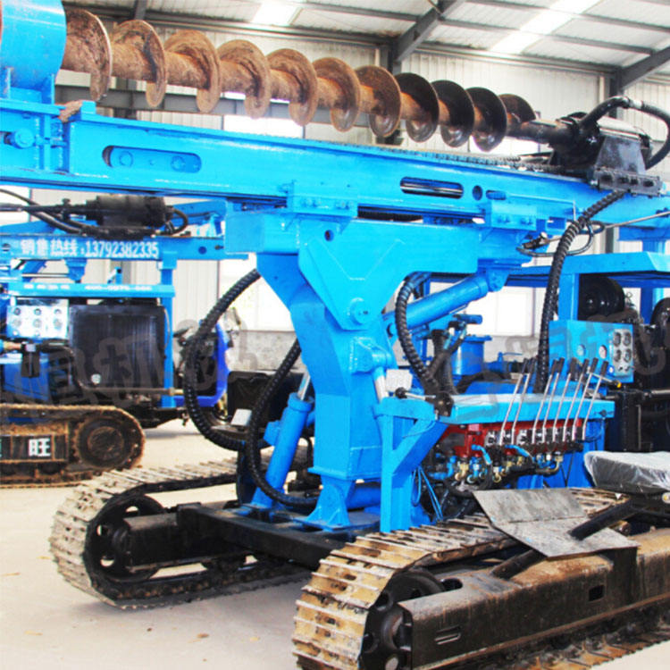 ground screw crawler hydraul solar pile driver 3m 6m post driver