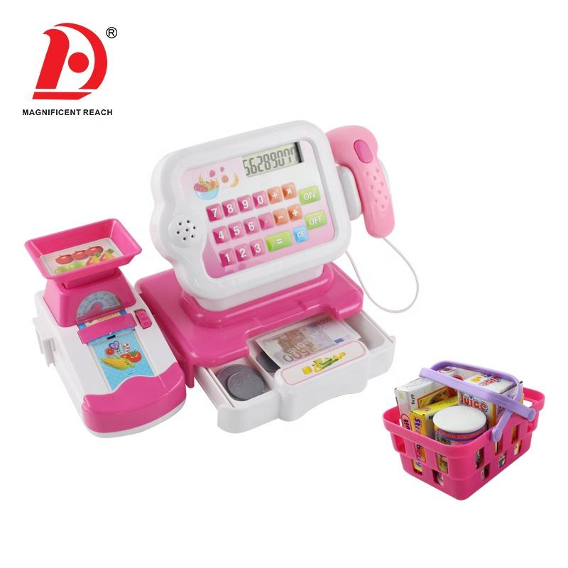 HUADA 2019 Kid Pretend Girls Favorite Game Pay Set Pink Pos Calculator Cash Register Toy with Multifunction