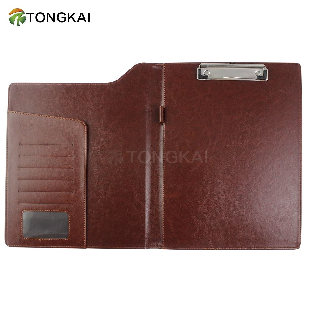 Double sides Fashion a4 leather bound clipboard folder sign folder with clip   pockets menu holder