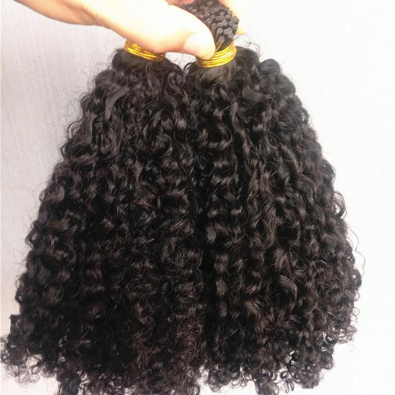 Wholesale brazilian human kinky curly i tip hair extensions natural black color 1g/pc 100g one bag