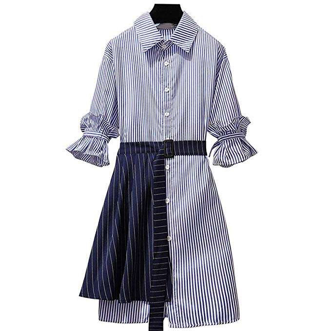 Wholesale summer striated short sleeve woman shirt dress