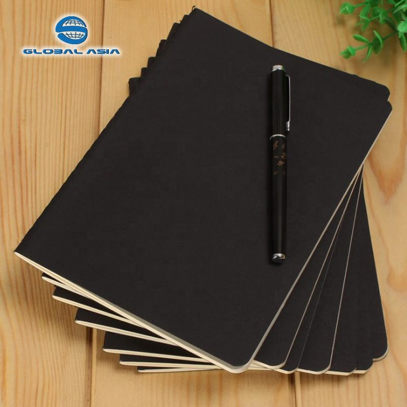 300gsm black kraft paper cover custom exercise book with white printing logo 80gsm offset paper A5 saddle stitching Notebook