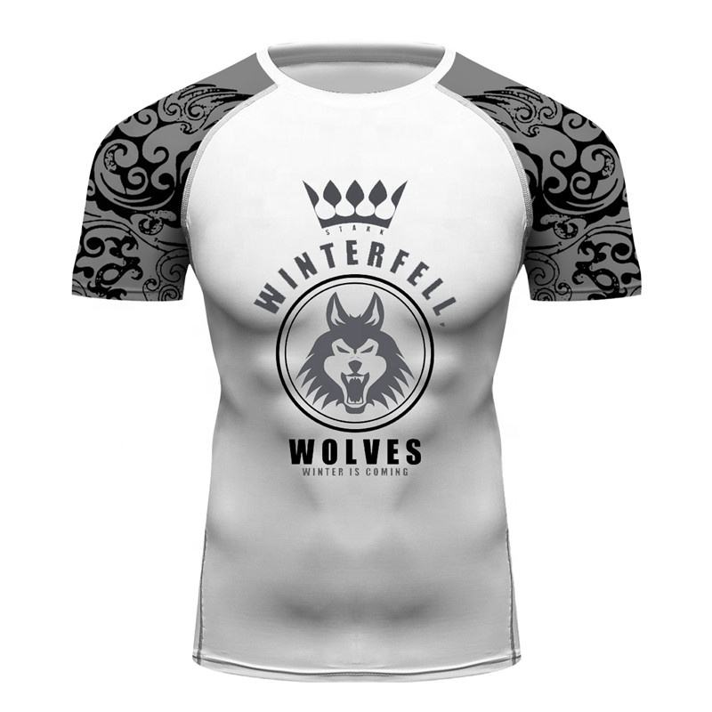 Men Tshirt Printing Custom Adults Fitness Tee Compression Sports Gym Rash Guards House Stark Wolf Men MMA Apparel Tops