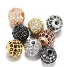 6mm 8mm 10mm 12mm 14mm Spacer Beads 18k plating micro pave zircon round beads DIY jewelry accessories (MPB047)