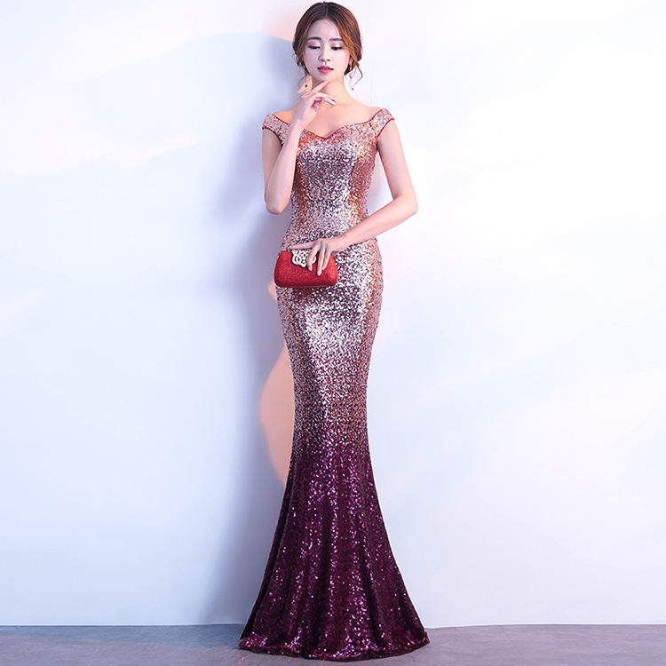 803#2018 Hot sale sequin long mermaid full prom dress arab evening dress