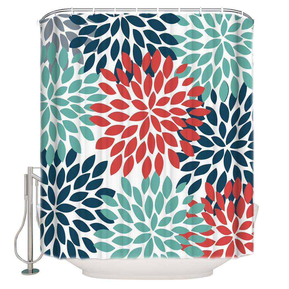 Modern Flower 3D Bathroom Long Shower Curtain With Rings 72x84 Inch