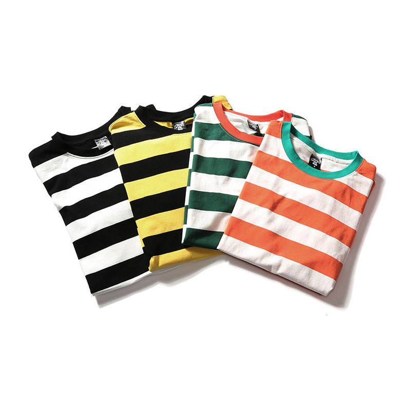 Wholesale Striped T-shirt Curved Hem Tee Crew Neck Tri Blend T Shirt