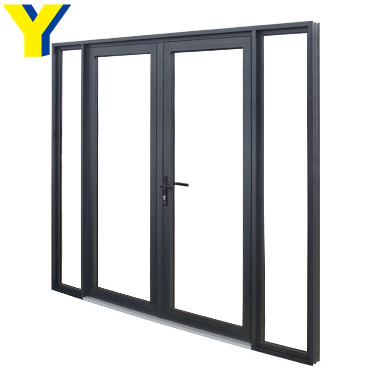 Commercial double glass doors aluminum casement hinged doors used exterior doors for sale