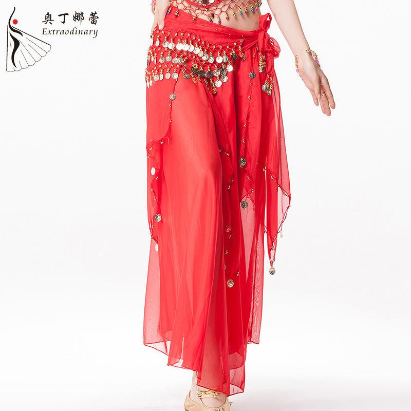 Chiffon Ruffle Slit Skirts Full Circle Tribal Belly Dance Club Gypsy Flamenco