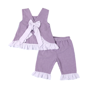 2019 Zomer kinderkleding seersucker meisjes outfits bows paars gingangplaid capri sets
