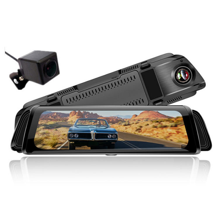 10 inch touch screen streaming rearview mirror car camera road safety guard black box dual lens 1080p DVR parking sensor Japan