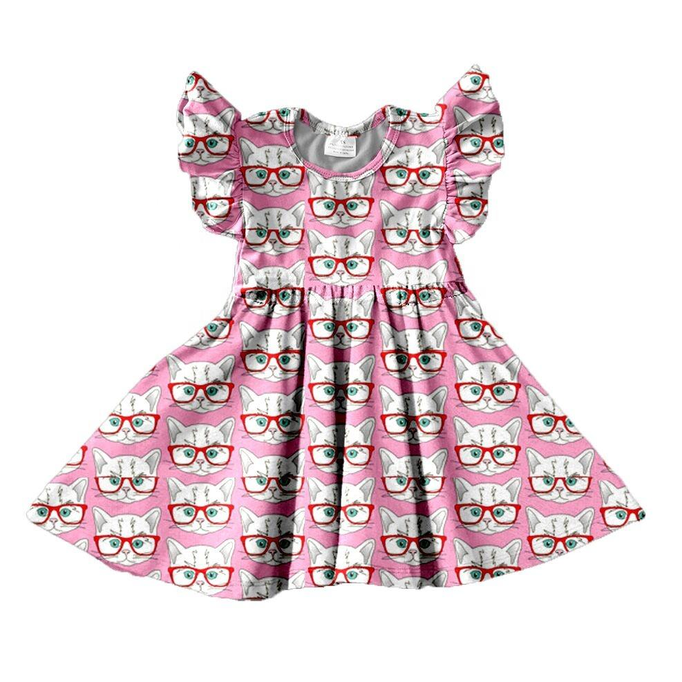 OEM/ODM Wholesale children's boutique clothing Cat Baby Girl Kittens Birthday Dress
