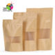 No handles food grade biodegradable waterproof matte window stand up kraft paper bag for  packaging snack candy cookies