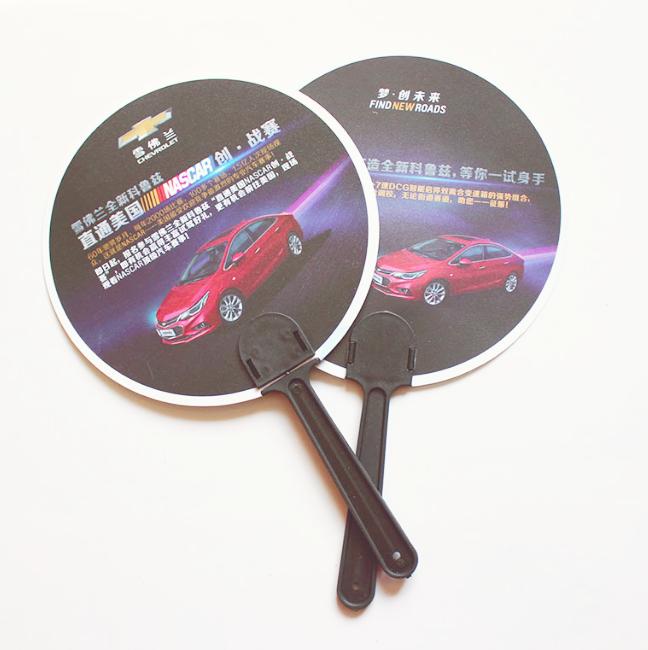 Middle Handle Promotion Customized Design Mini Plastic PP Hand Fan Customized