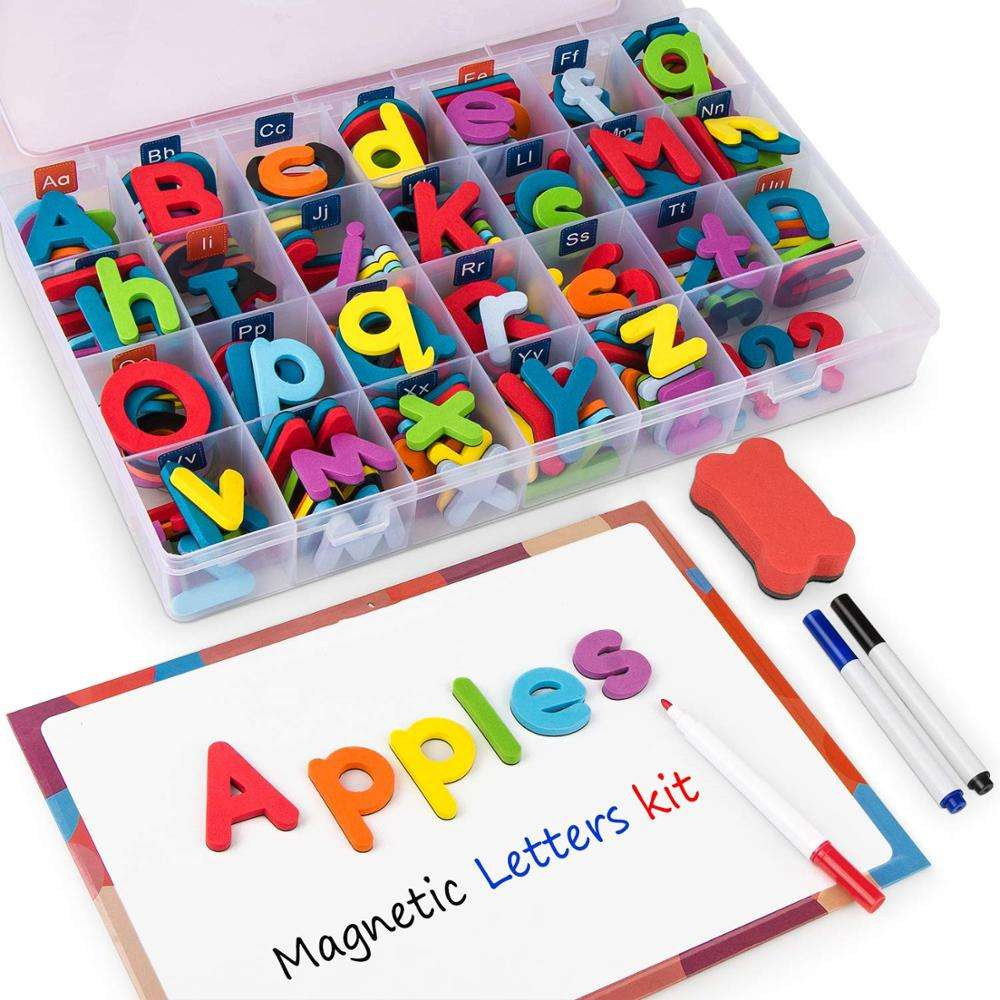 Magnetic Alphabet Letters Kit with Double-Side Magnet Board Foam Alphabet Letters for Preschool Kids Toddler