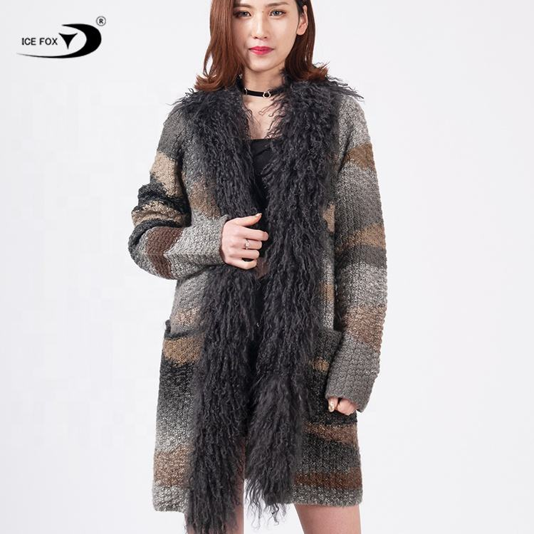 Winter Warm Thick Collar Women Heavy Cardigan Long Sleeves Sweater Fur Coat