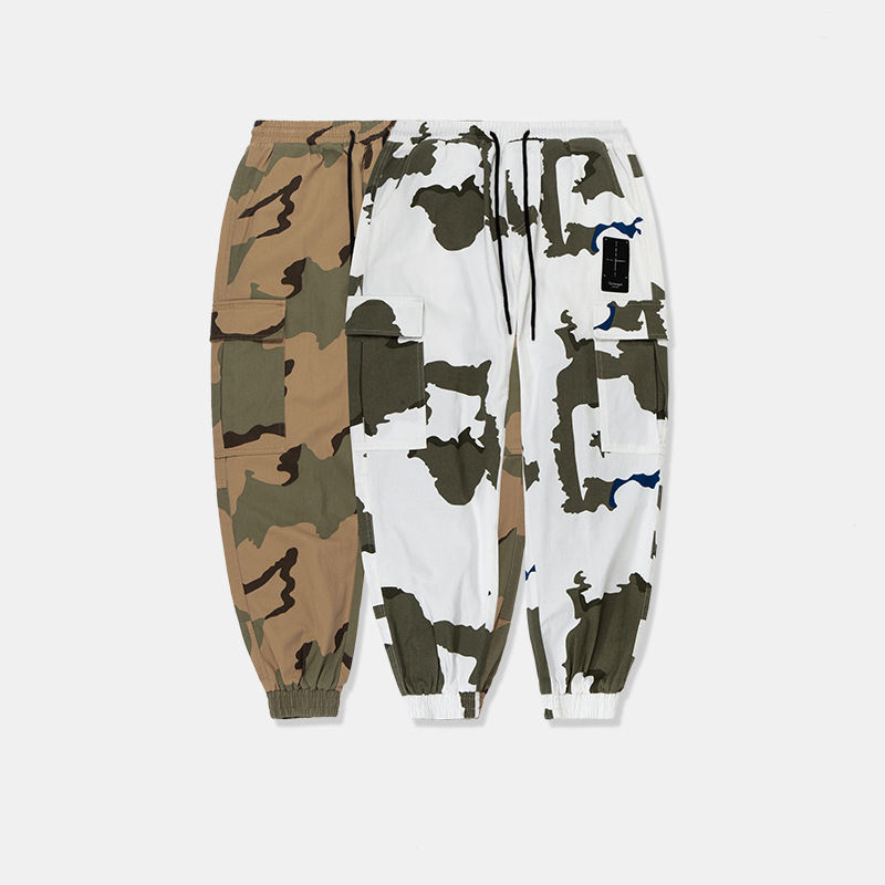 High quality camo camouflage elastic waistband fancy men cargo sweatpants hip hop trousers
