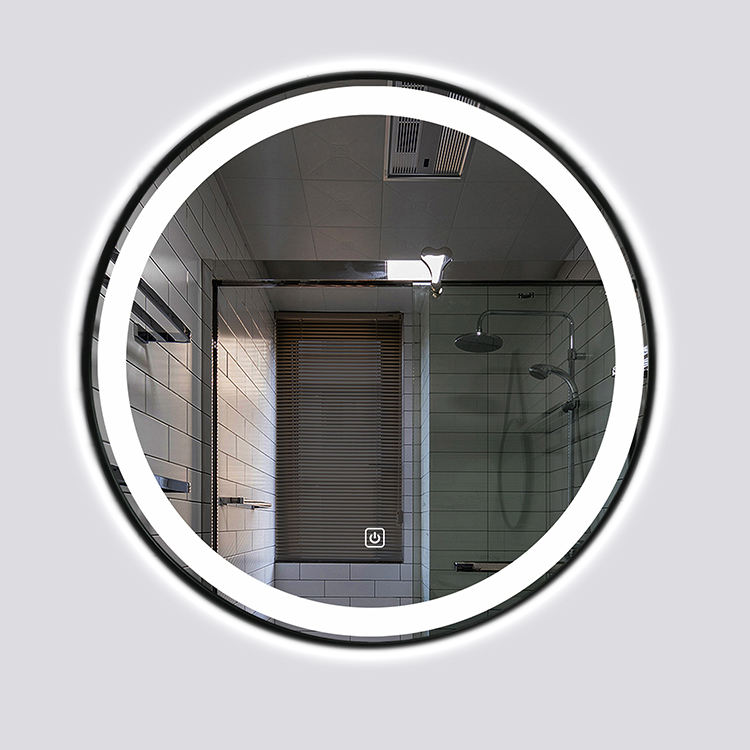 Lighted round led bathroom mirror, low price customized bathroom mirror with lamp