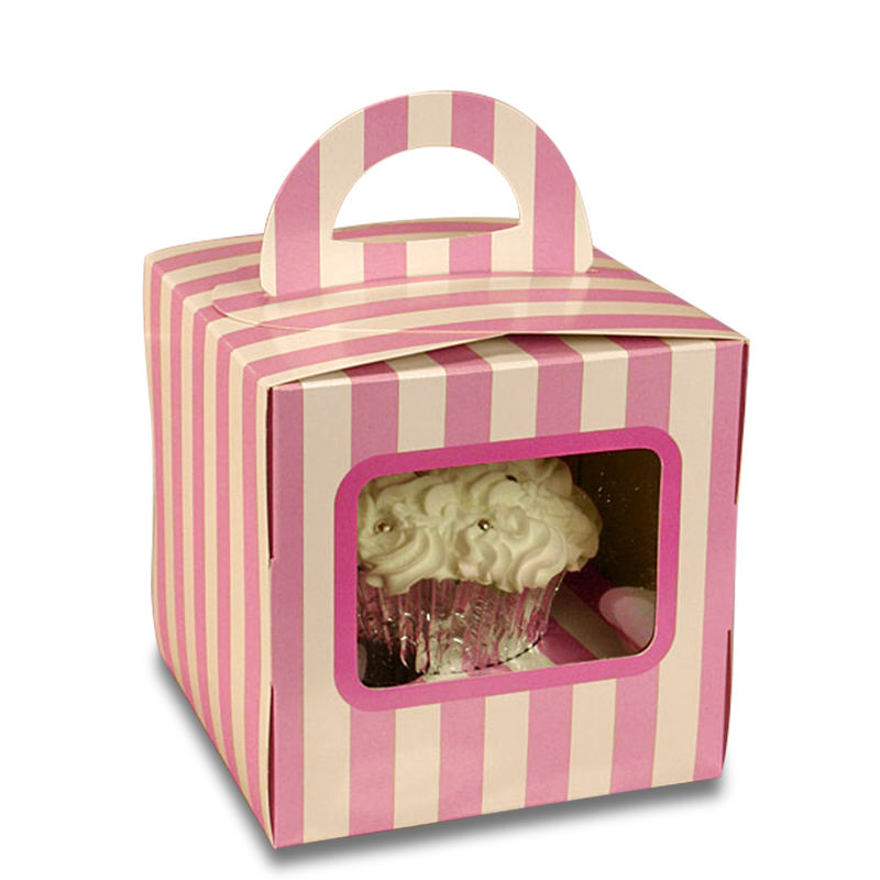 Custom Made Foldable Bakery Cake Food Packing Box With handle