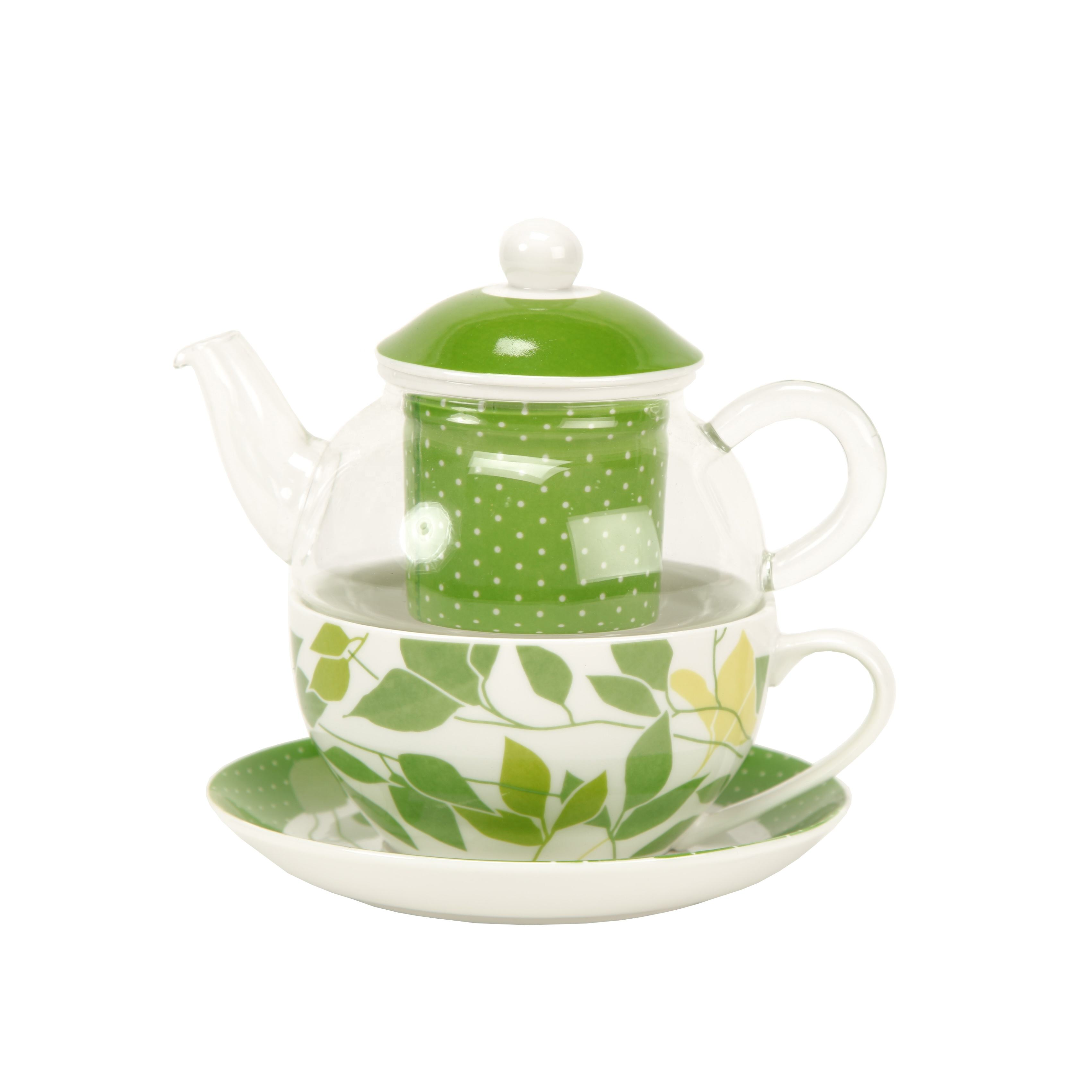 Infusione di vetro tea pot per uno con tea strainer