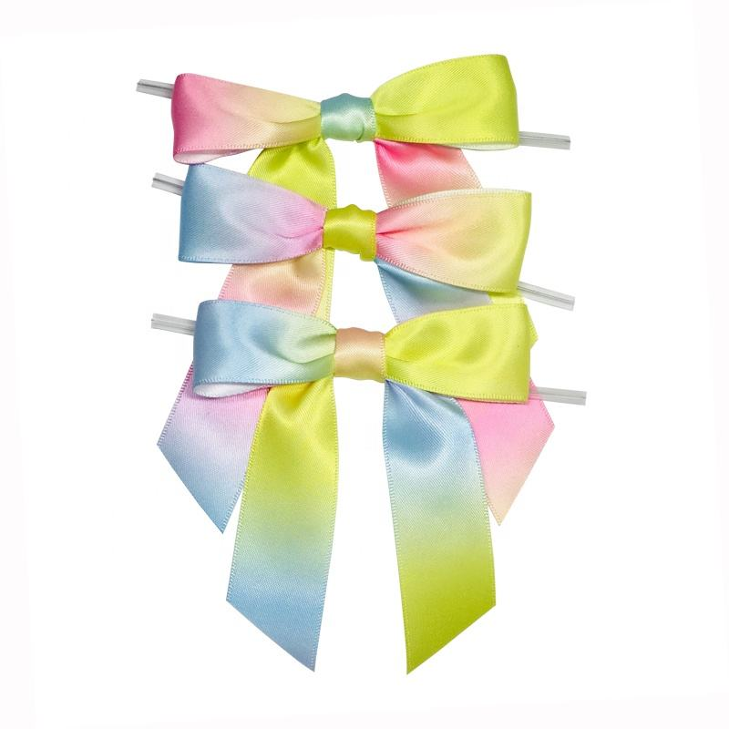 Free Samples Fashion Rainbow Printed satin bows for invitation