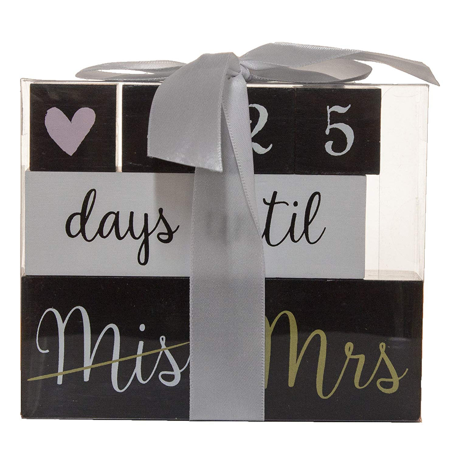Ganz 6 Piece Wooden Black Block Wedding Day Countdown Calendar