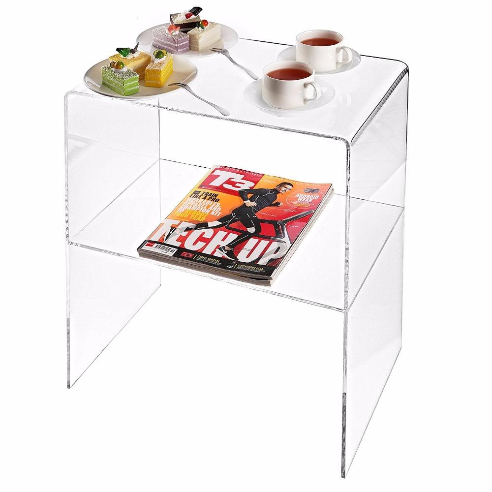 Custom Creative Design Multipurpose Clear Acrylic 2 Shelves Nightstand Computer Desk Glass Acrylic Coffee Table for Sale