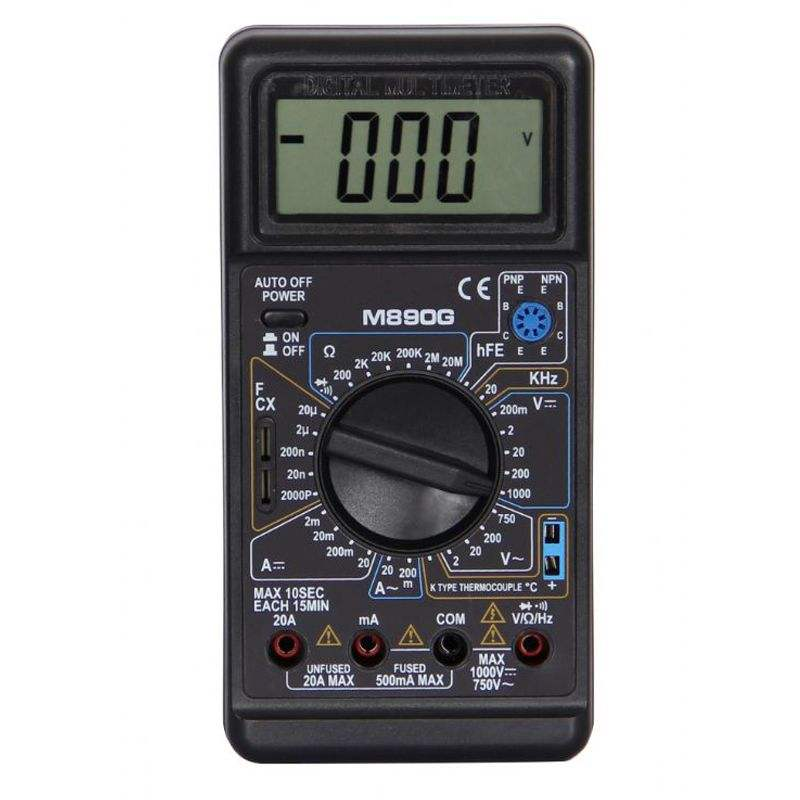 M890G useful digital multimeter Large LCD display with temperature and frequency function