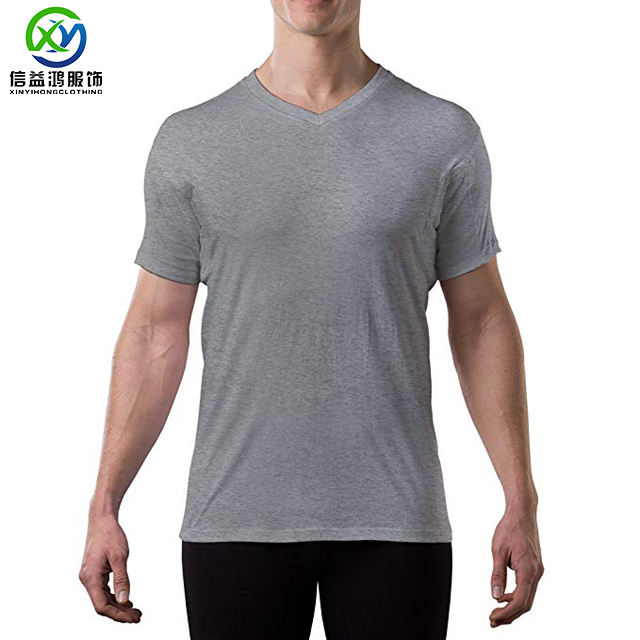 New recycled bamboo polyester blend men's short sleeve v-neck bamboo t shirt