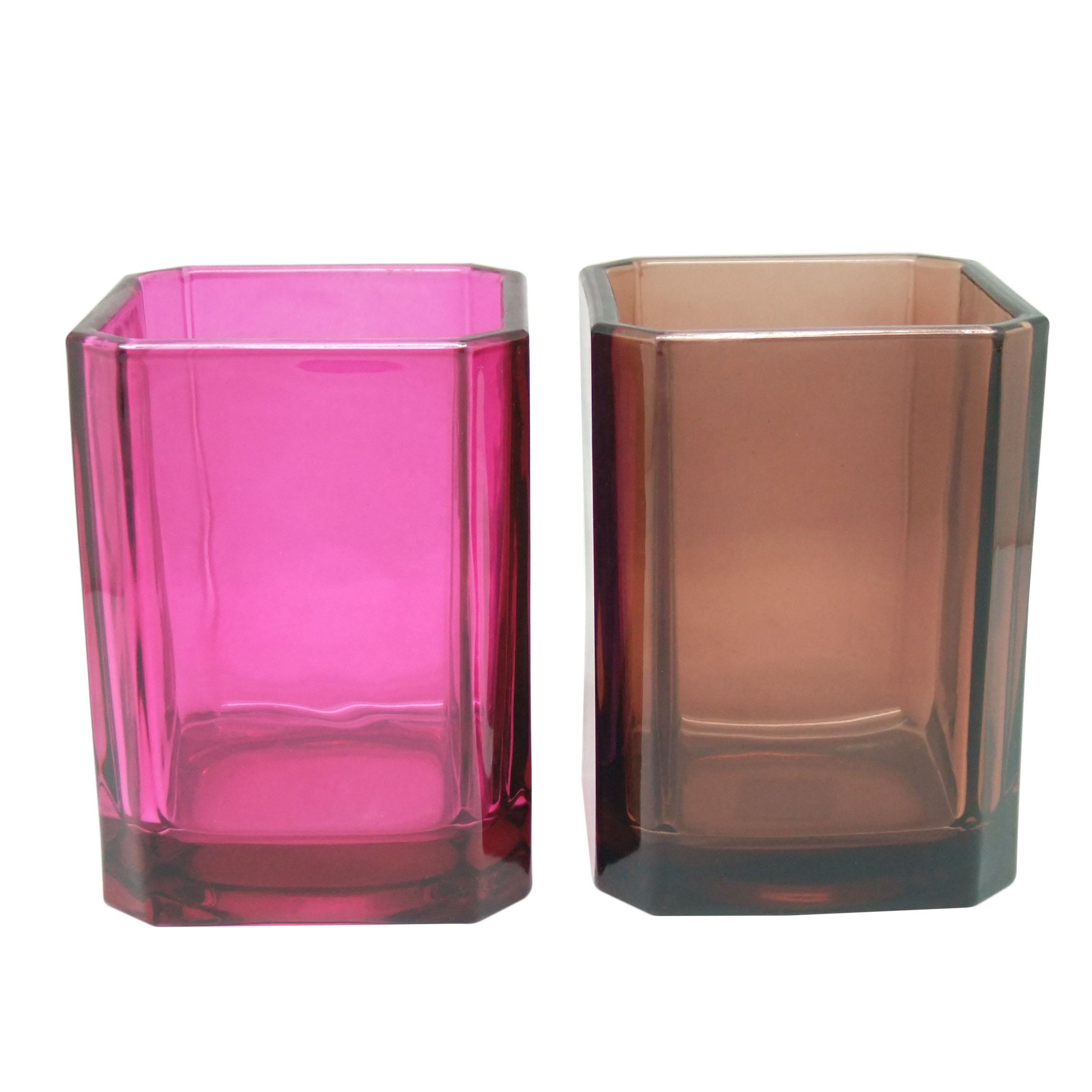 square amber candle jars with lids glass candle luxury custom apothecary candle holders wedding cube jars wholesale Haodexin