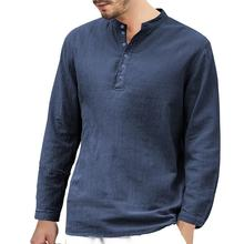 European Men Casual Blank Pure Color Linen Shirt