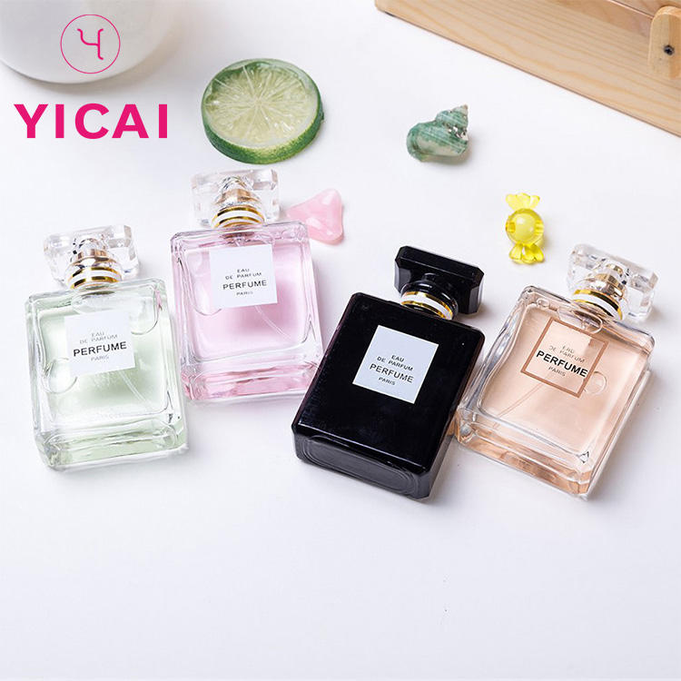 Factory Price Custom Made 30ml 50ml Square Atomizer Spray Glass Perfume Bottle