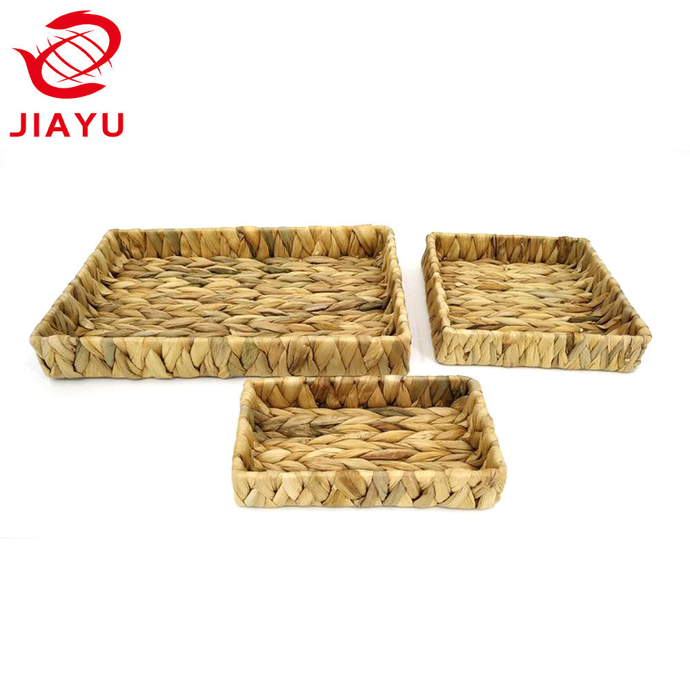 Shallow Basket Storage Tray Water Hyacinth - Bedroom, Kitchen, Office