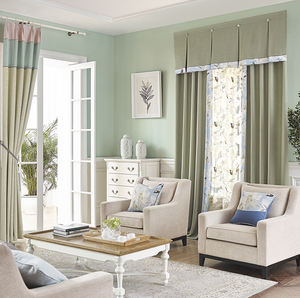 Ready made modern european jacquard blackout window covering embroidered voile curtains for the living room with valances