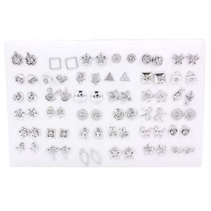 36Pairs/lot Silver Women Butterfly Bowknot Flower Swan Small Crystal Stud Earrings Sets Girl Children Jewelry Party Gift