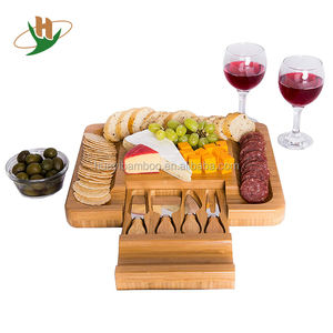 Bamboo Cheese Board Set with Hidden Cutlery Drawer and Knife Set Big Meat Cracker Wood Platter Plate PLUS Large Space