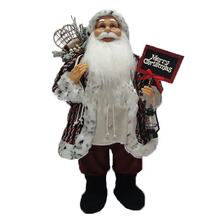 OEM Christmas decor 120 CM big noel Fabric cloth standing Santa Claus figurine with mistletoe bag