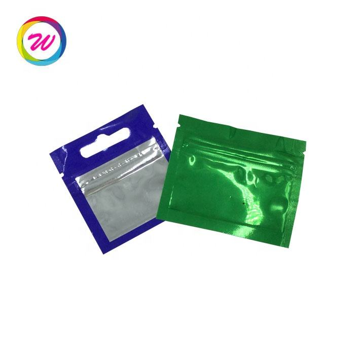 high barrier lined foil clear front 1g weeds pouch with zipper top