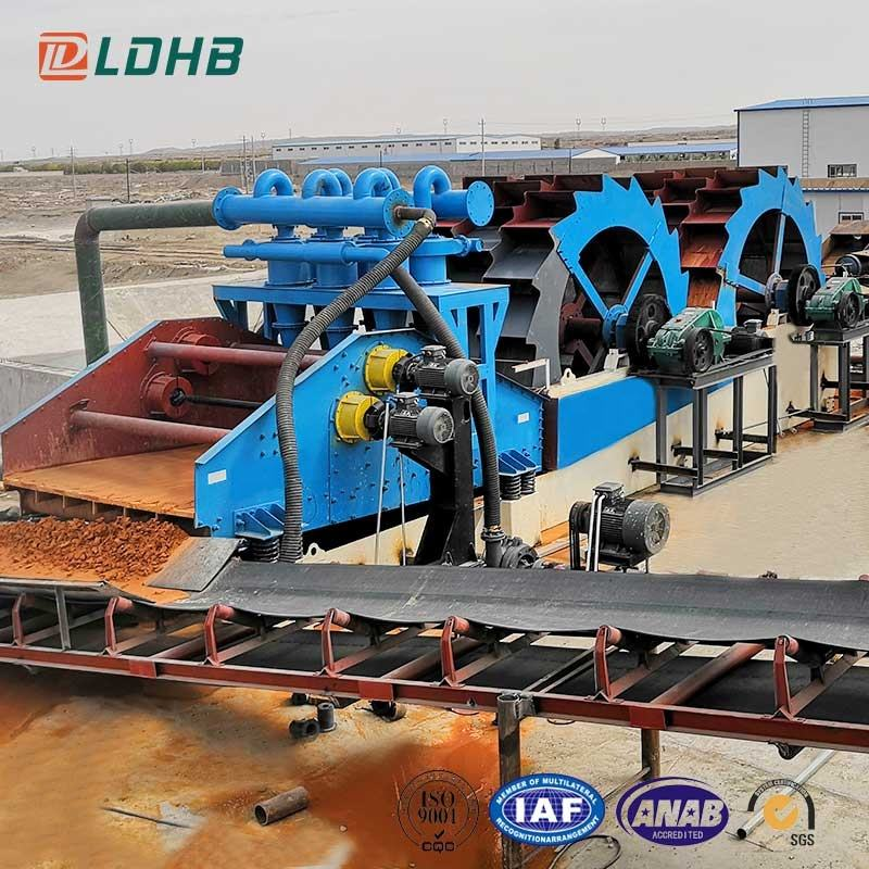 LDHB 2LD36-100-2442J dual wheel type wet silica sand washing and dewatering plant for sale