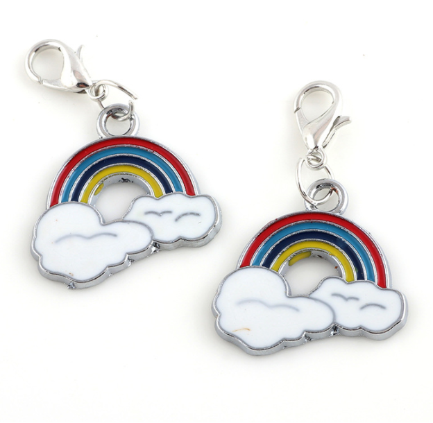 Promotional Rainbow colourful sky Shape metal Keychain with Colorful Rainbow design key chain