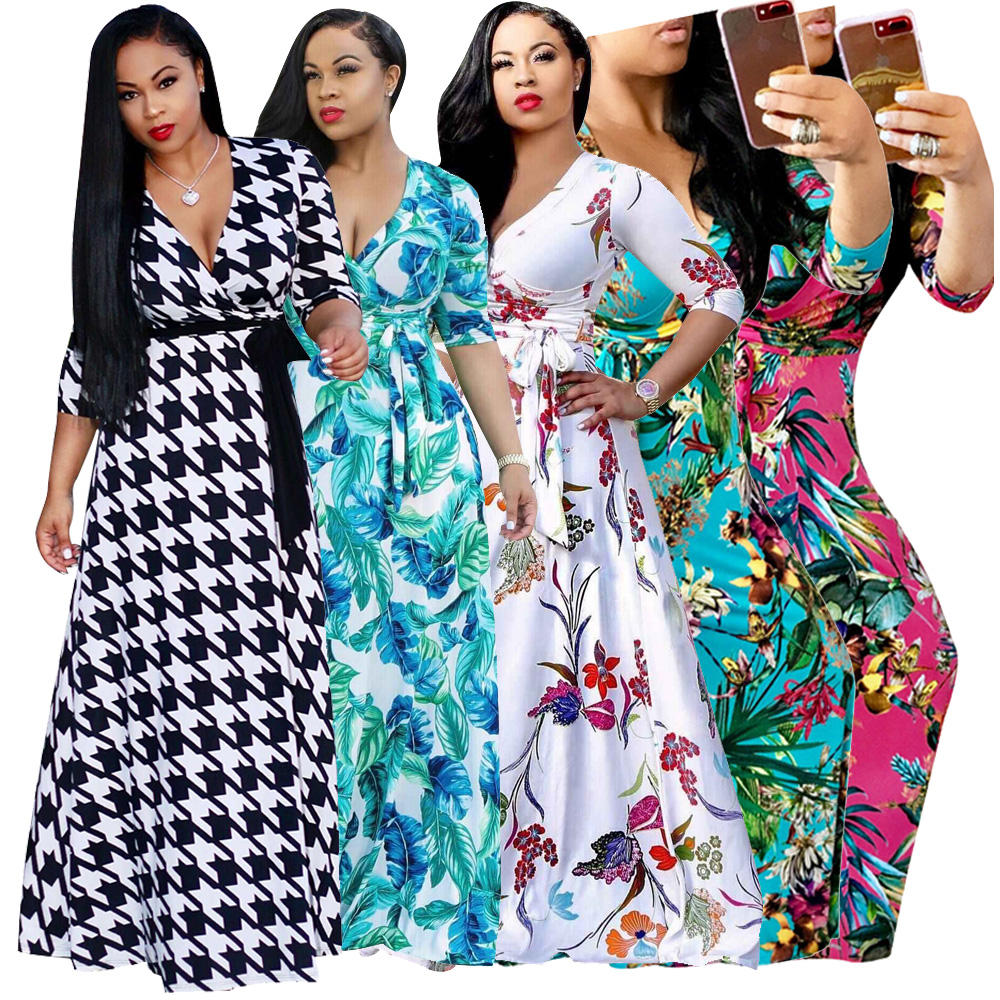 Casual Plus size Haif Sleeve V-Neck Maxi Dress Long One Piece Clothing Summer Women Dresses