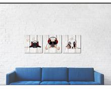 Dog Wall Art Funny Bulldog Animal Pictures Giclee Canvas Printings Wood Texture Background Music Themed Home Decor